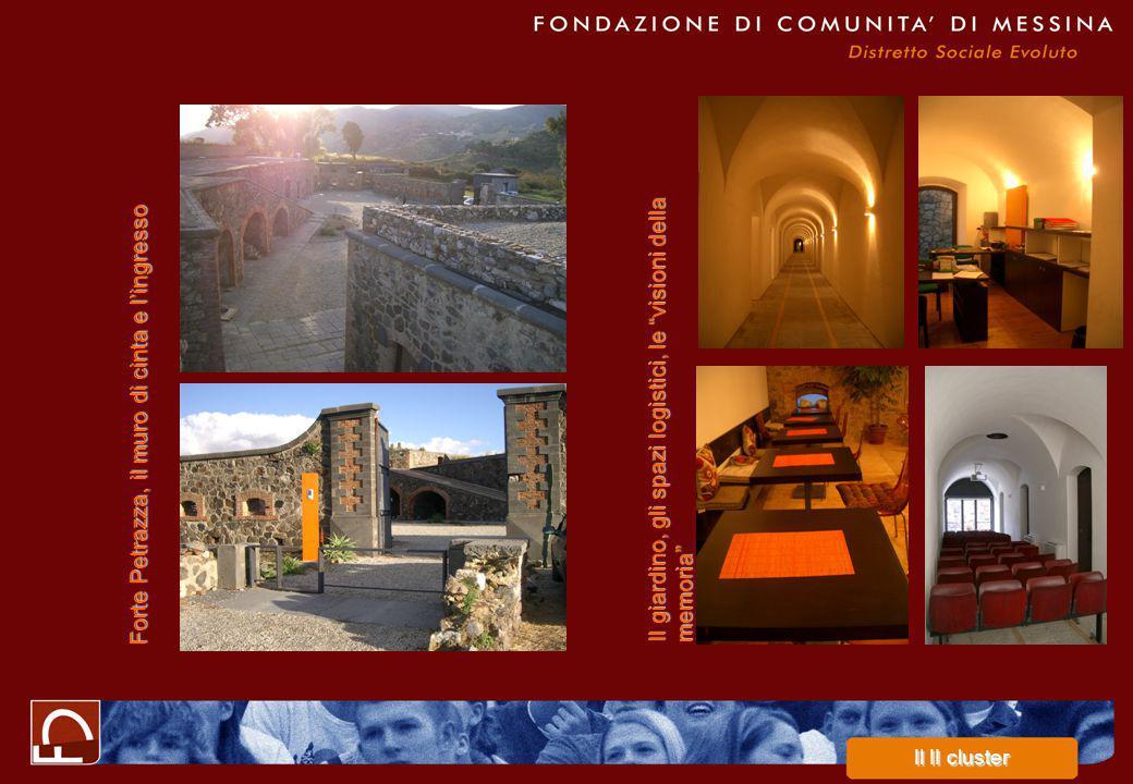 Forte Petrazza, il muro di cinta e l'ingresso Il giardino, gli spazi logistici, le visioni della memoria Il II cluster