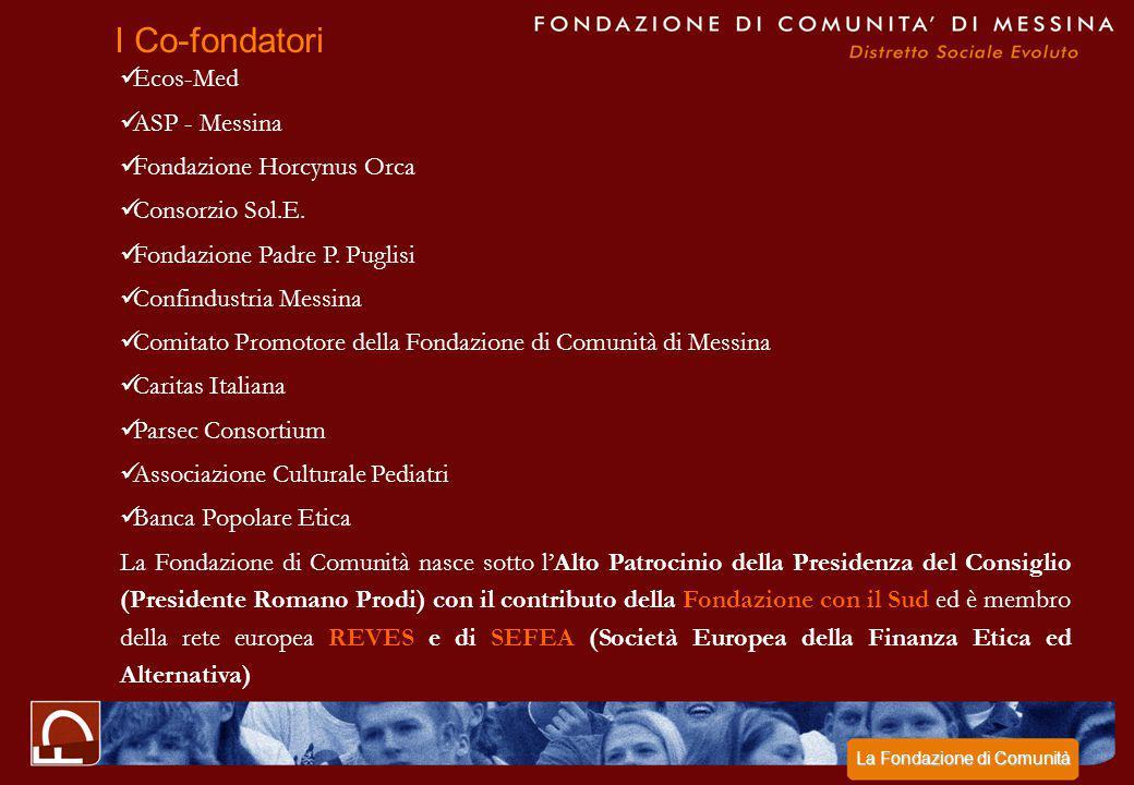 Ecos-Med ASP - Messina Fondazione Horcynus Orca Consorzio Sol.E. Fondazione Padre P. Puglisi Confindustria Messina Comitato Promotore della Fondazione