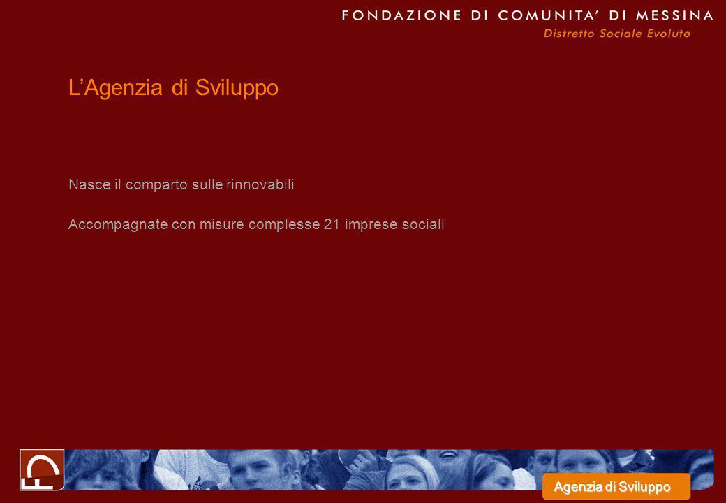 Nasce il comparto sulle rinnovabili Accompagnate con misure complesse 21 imprese sociali L'Agenzia di Sviluppo Agenzia di Sviluppo