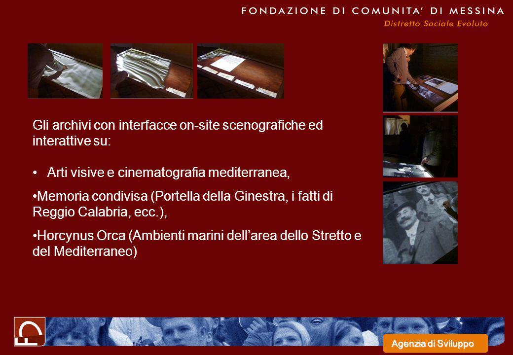 Gli archivi con interfacce on-site scenografiche ed interattive su: Arti visive e cinematografia mediterranea, Memoria condivisa (Portella della Gines