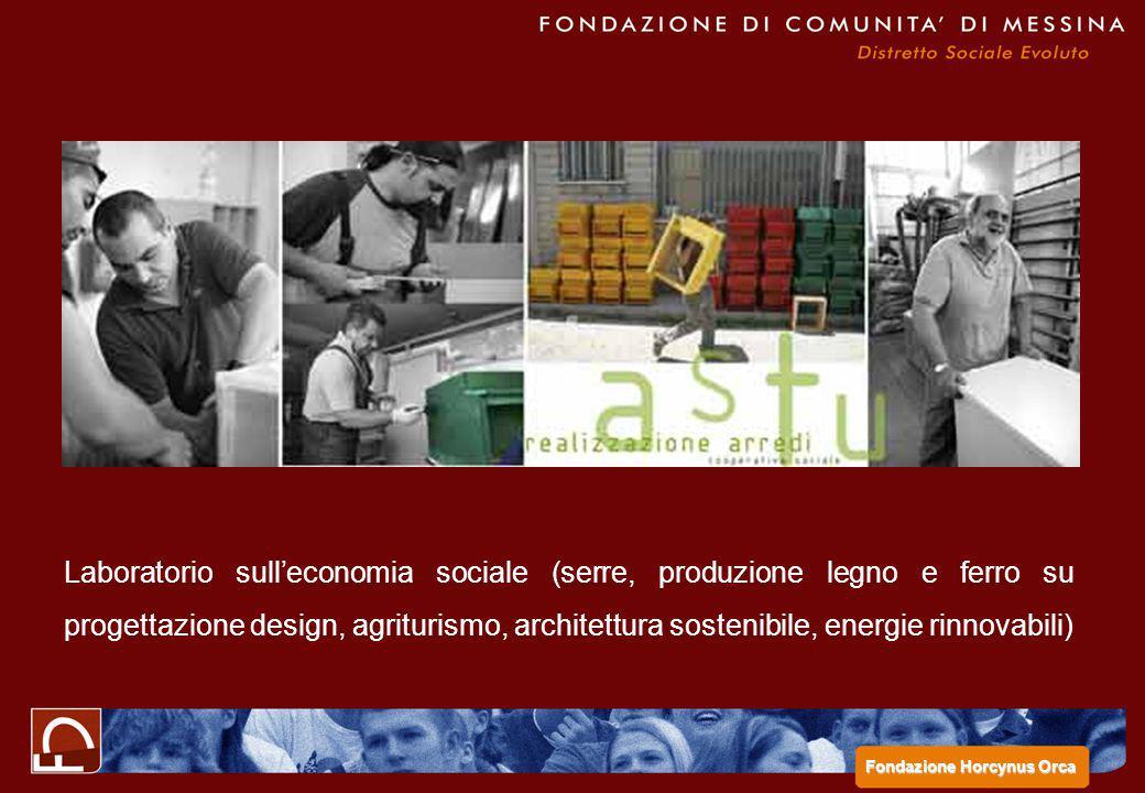 Laboratorio sull'economia sociale (serre, produzione legno e ferro su progettazione design, agriturismo, architettura sostenibile, energie rinnovabili) Fondazione Horcynus Orca