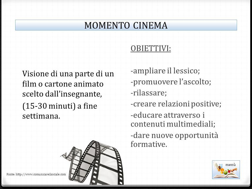 Visione di una parte di un film o cartone animato scelto dall'insegnante, (15-30 minuti) a fine settimana.