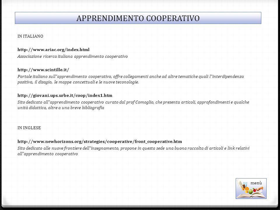 """IN ITALIANO http://www.ariac.org/index.html Associazione ricerca italiana apprendimento cooperativo http://www.scintille.it/ Portale italiano sull""""apprendimento cooperativo, offre collegamenti anche ad altre tematiche quali l""""interdipendenza positiva, il disagio, le mappe concettuali e le nuove teconologie."""