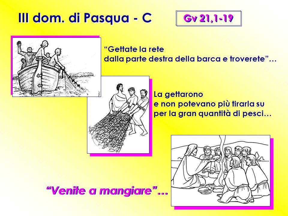 """III dom. di Pasqua - C Gv 21,1-19 """"Venite a mangiare""""… """"Gettate la rete dalla parte destra della barca e troverete""""… La gettarono e non potevano più t"""
