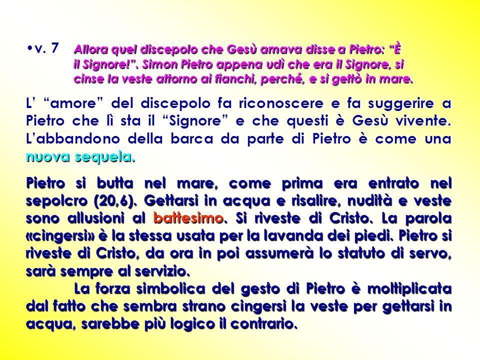 """Allora quel discepolo che Gesù amava disse a Pietro: """"È il Signore!"""". Simon Pietro appena udì che era il Signore, si cinse la veste attorno ai fianchi"""