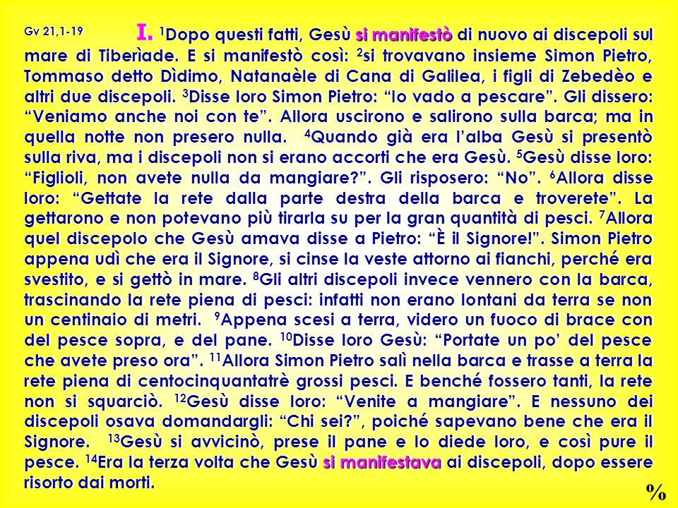 si manifestò si manifestava Gv 21,1-19 I. 1 Dopo questi fatti, Gesù si manifestò di nuovo ai discepoli sul mare di Tiberìade. E si manifestò così: 2 s