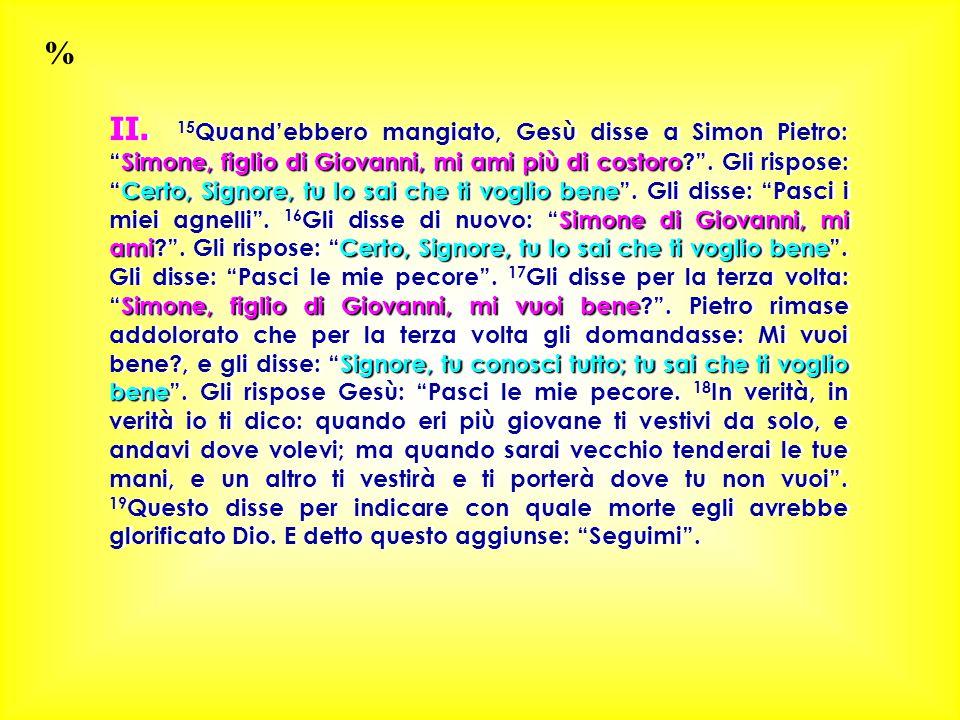 Simone, figlio di Giovanni, mi ami più di costoro Certo, Signore, tu lo sai che ti voglio bene Simone di Giovanni, mi amiCerto, Signore, tu lo sai che