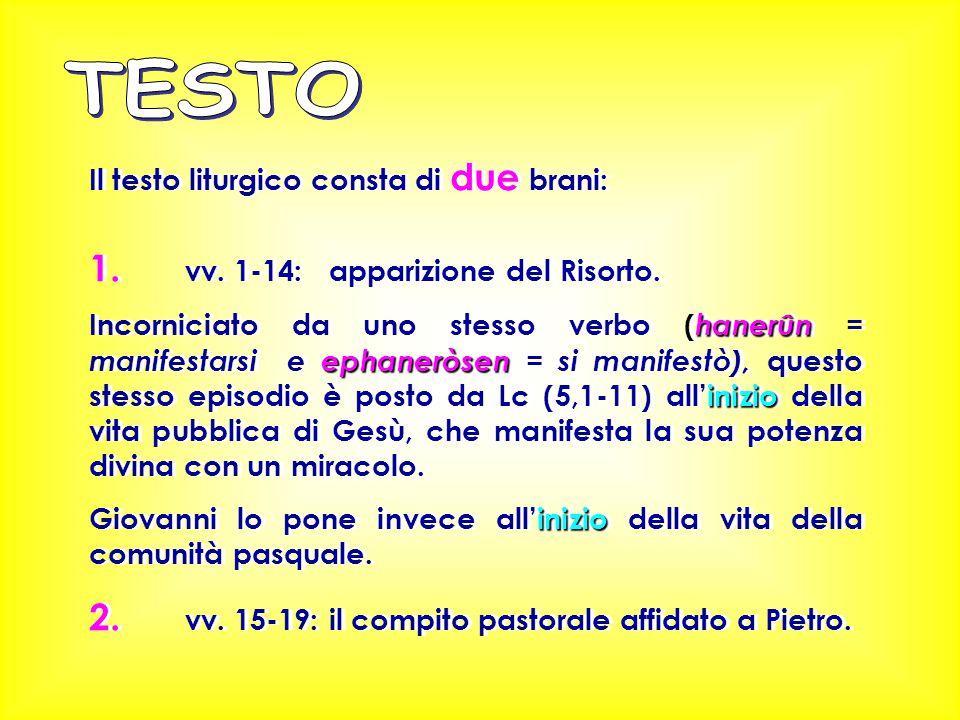 Il testo liturgico consta di due brani: 1. vv. 1-14: apparizione del Risorto. hanerûn ephaneròsen inizio Incorniciato da uno stesso verbo ( hanerûn =