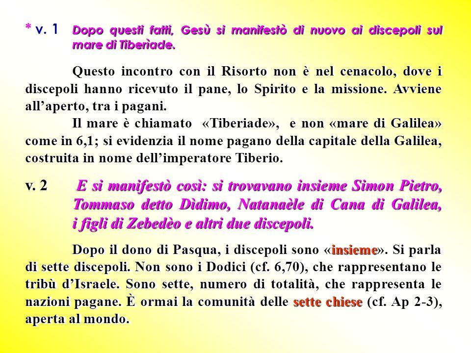 Dopo questi fatti, Gesù si manifestò di nuovo ai discepoli sul mare di Tiberìade. * v. 1 Dopo questi fatti, Gesù si manifestò di nuovo ai discepoli su