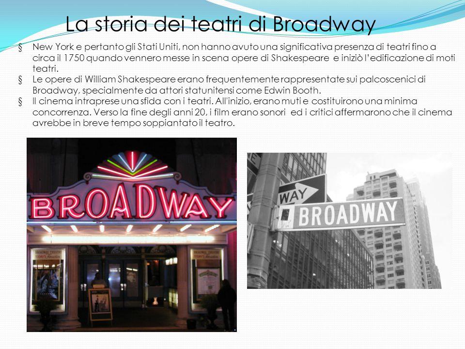 § New York e pertanto gli Stati Uniti, non hanno avuto una significativa presenza di teatri fino a circa il 1750 quando vennero messe in scena opere di Shakespeare e iniziò l'edificazione di moti teatri.