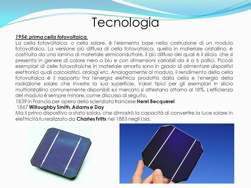 1954: prima cella fotovoltaica.
