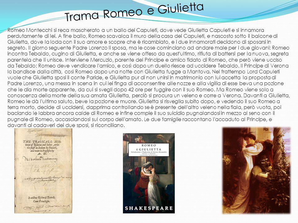 Trama Romeo e Giulietta Romeo Montecchi si reca mascherato a un ballo dei Capuleti, dove vede Giulietta Capuleti e si innamora perdutamente di lei.