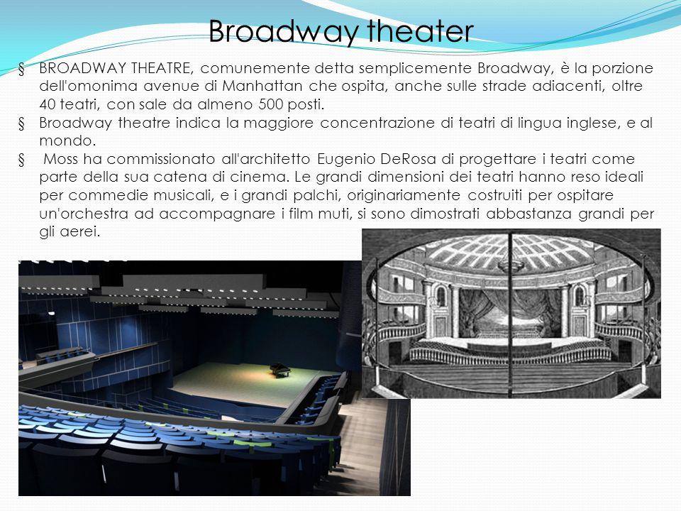 Broadway theater § BROADWAY THEATRE, comunemente detta semplicemente Broadway, è la porzione dell omonima avenue di Manhattan che ospita, anche sulle strade adiacenti, oltre 40 teatri, con sale da almeno 500 posti.