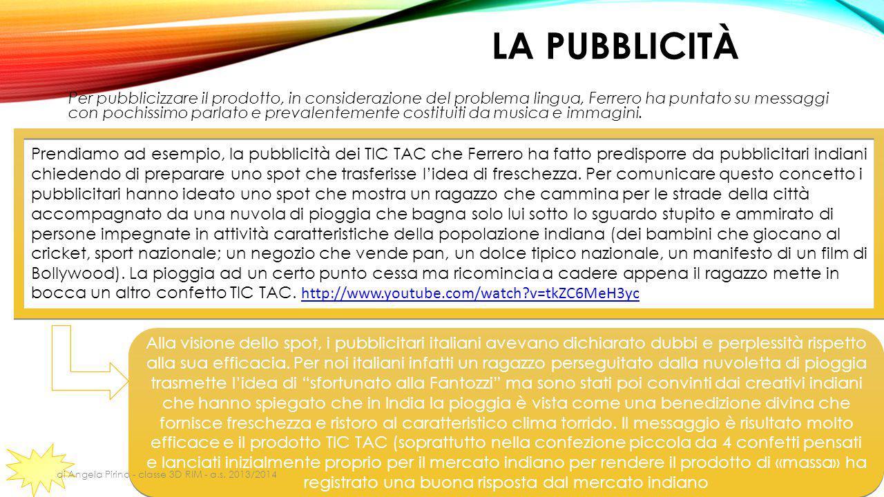 LA PUBBLICITÀ Per pubblicizzare il prodotto, in considerazione del problema lingua, Ferrero ha puntato su messaggi con pochissimo parlato e prevalente