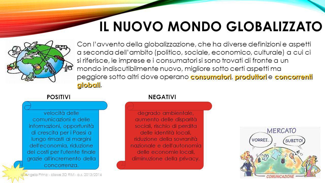 IL NUOVO MONDO GLOBALIZZATO consumatoriproduttoriconcorrenti globali Con l'avvento della globalizzazione, che ha diverse definizioni e aspetti a secon