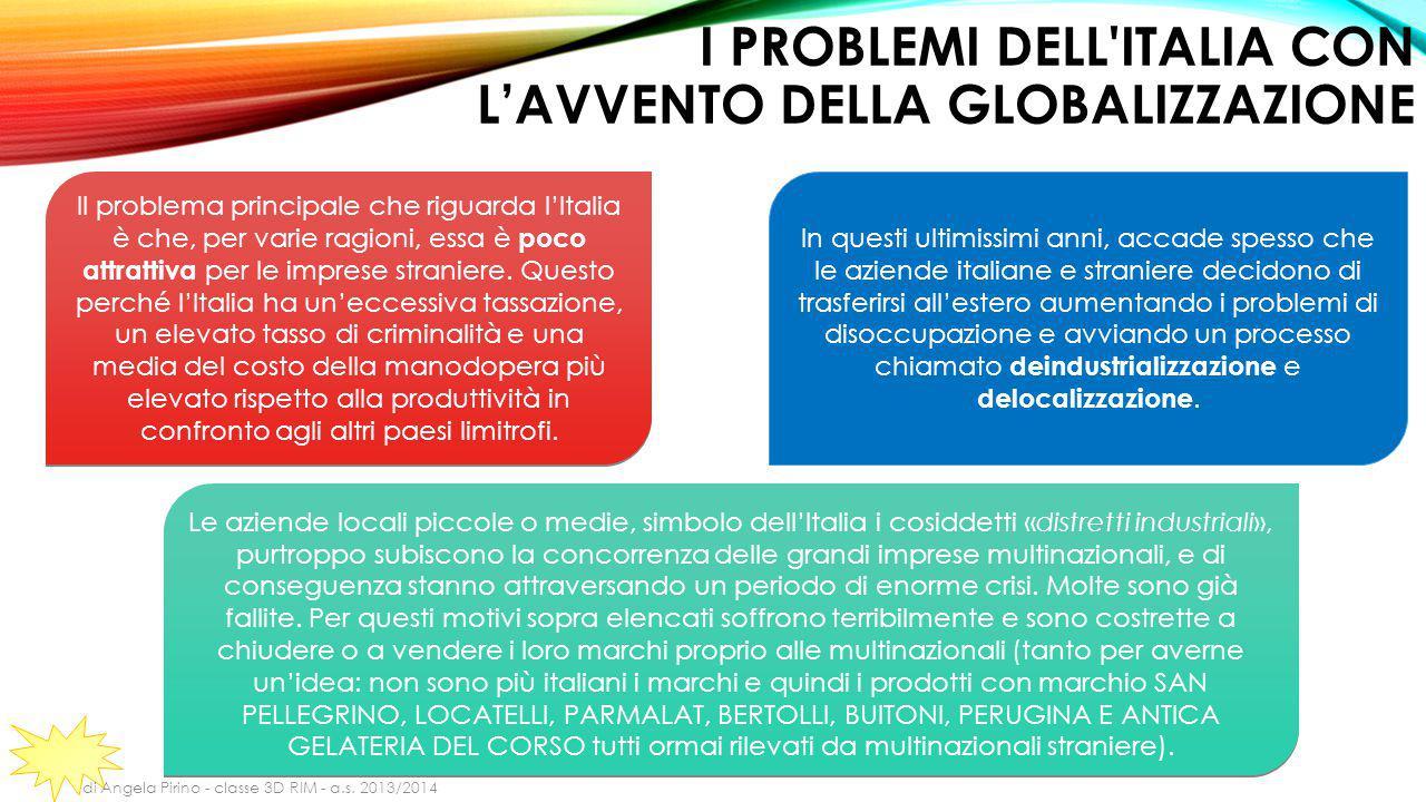 I PROBLEMI DELL ITALIA CON L'AVVENTO DELLA GLOBALIZZAZIONE Il problema principale che riguarda l'Italia è che, per varie ragioni, essa è poco attrattiva per le imprese straniere.