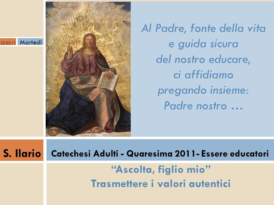 Io sono la via Vivere in Cristo S.Ilario Catechesi Adulti - Quaresima 2011- Essere educatori Ho manifestato il tuo nome agli uomini che mi hai dato dal mondo.