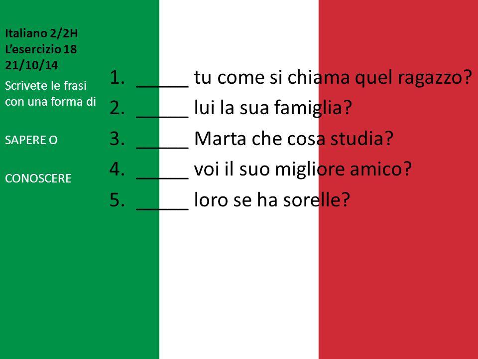 Italiano 2/2H L'esercizio 18 21/10/14 1._____ tu come si chiama quel ragazzo? 2._____ lui la sua famiglia? 3._____ Marta che cosa studia? 4._____ voi