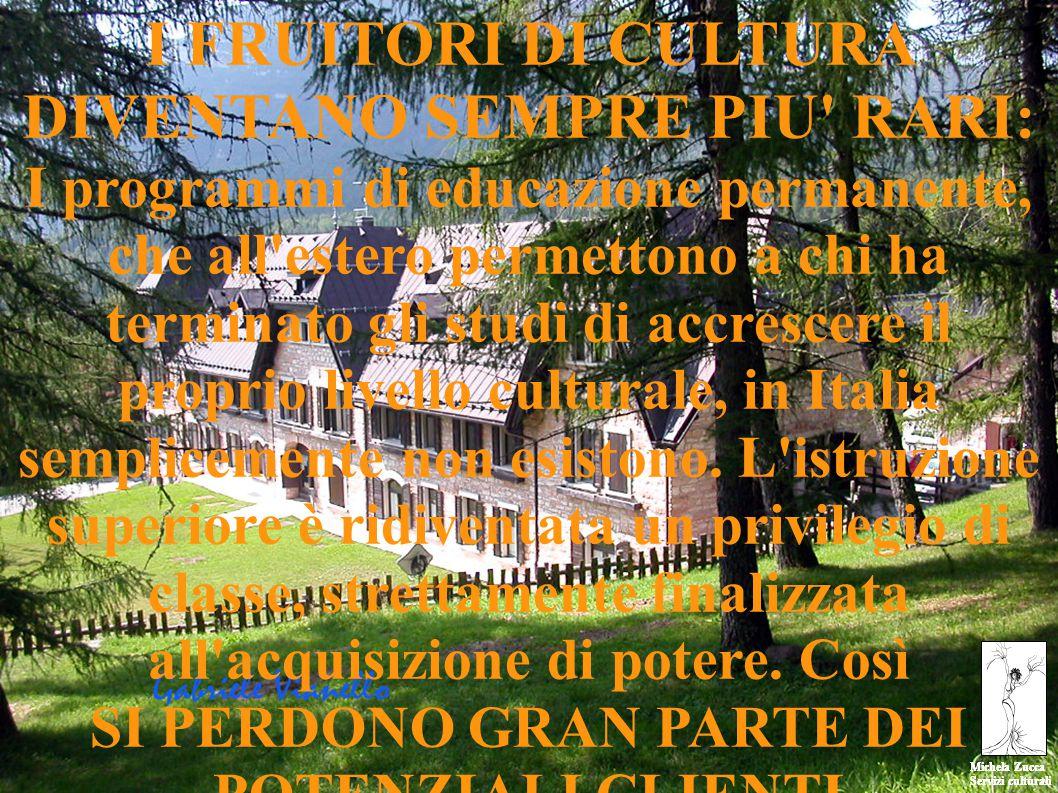 Michela Zucca Servizi culturali Michela Zucca Servizi culturali I FRUITORI DI CULTURA DIVENTANO SEMPRE PIU RARI: I programmi di educazione permanente, che all estero permettono a chi ha terminato gli studi di accrescere il proprio livello culturale, in Italia semplicemente non esistono.
