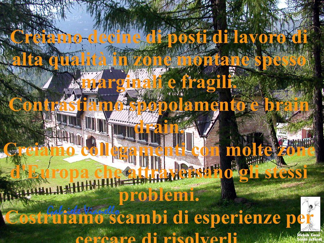 Michela Zucca Servizi culturali Michela Zucca Servizi culturali Creiamo decine di posti di lavoro di alta qualità in zone montane spesso marginali e fragili.