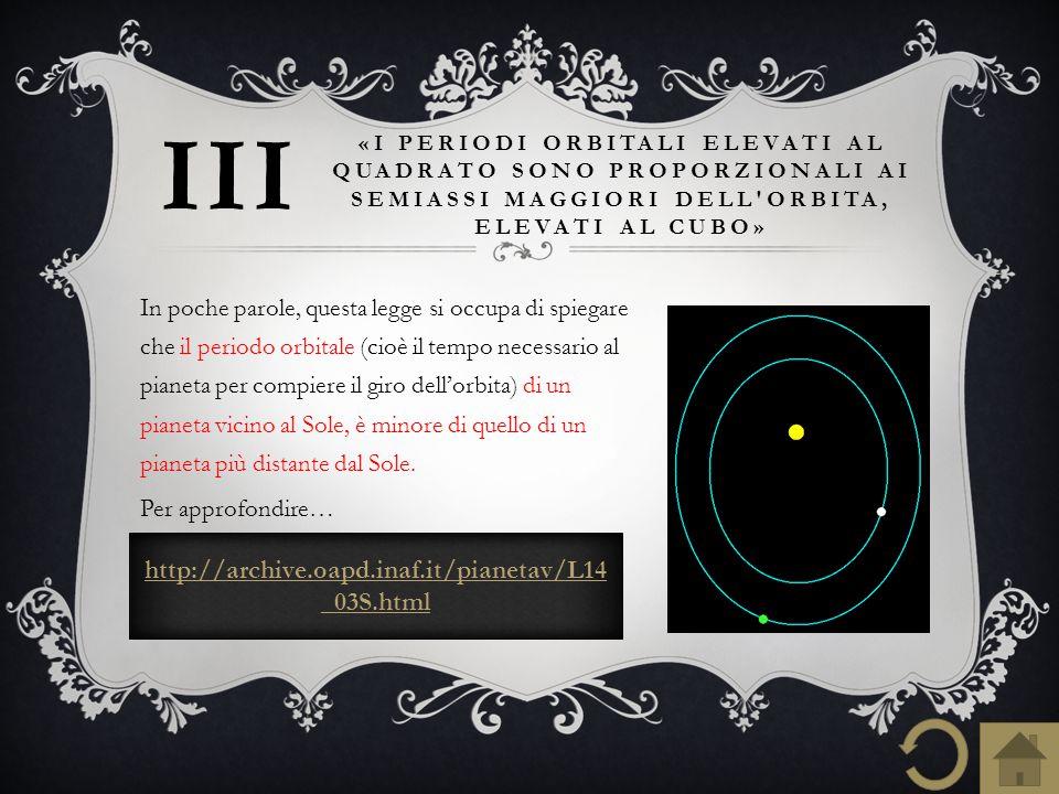 http://archive.oapd.inaf.it/pianetav/L14 _03S.html «I PERIODI ORBITALI ELEVATI AL QUADRATO SONO PROPORZIONALI AI SEMIASSI MAGGIORI DELL'ORBITA, ELEVAT