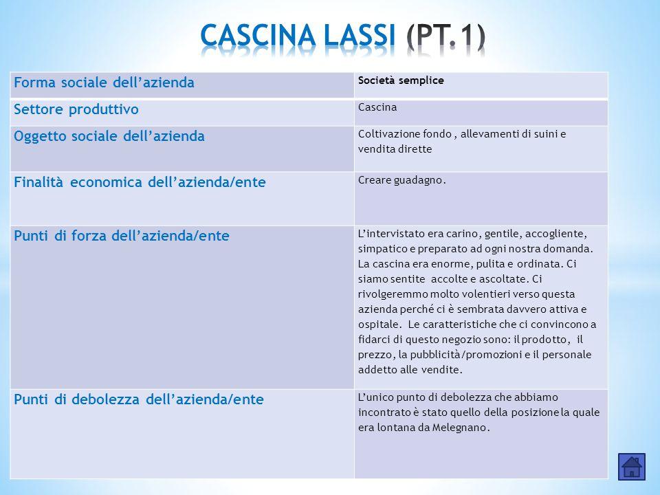 Forma sociale dell'azienda Società semplice Settore produttivo Cascina Oggetto sociale dell'azienda Coltivazione fondo, allevamenti di suini e vendita