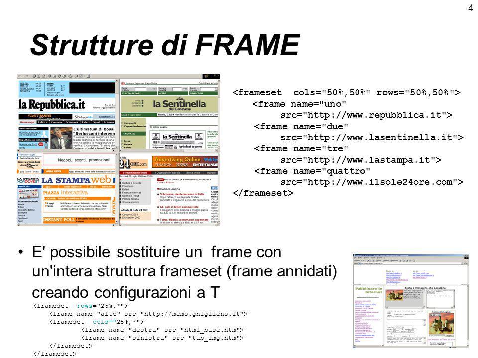 4 Strutture di FRAME <frame name= quattro src= http://www.ilsole24ore.com > E possibile sostituire un frame con un intera struttura frameset (frame annidati) creando configurazioni a T