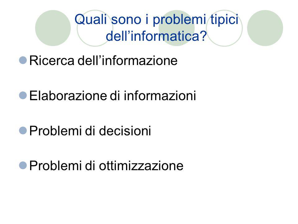 Quali sono i problemi tipici dell'informatica? Ricerca dell'informazione Elaborazione di informazioni Problemi di decisioni Problemi di ottimizzazione
