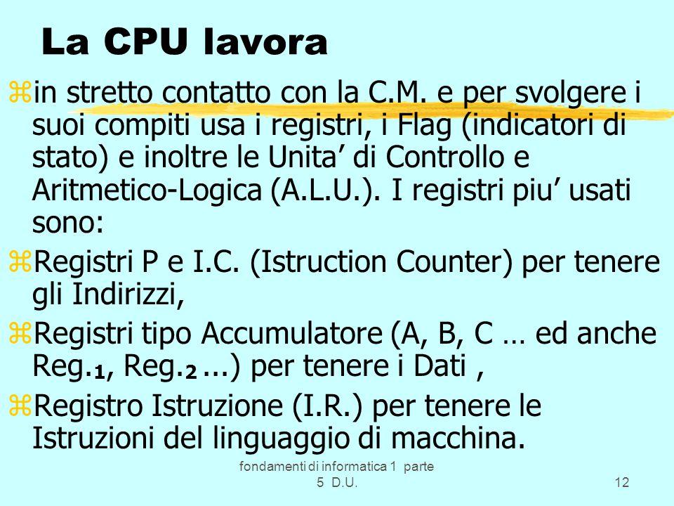 fondamenti di informatica 1 parte 5 D.U.12 La CPU lavora zin stretto contatto con la C.M.