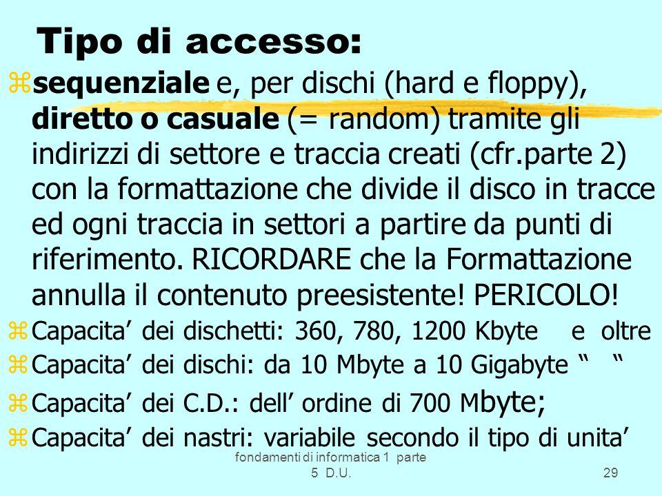 fondamenti di informatica 1 parte 5 D.U.29 Tipo di accesso: zsequenziale e, per dischi (hard e floppy), diretto o casuale (= random) tramite gli indirizzi di settore e traccia creati (cfr.parte 2) con la formattazione che divide il disco in tracce ed ogni traccia in settori a partire da punti di riferimento.