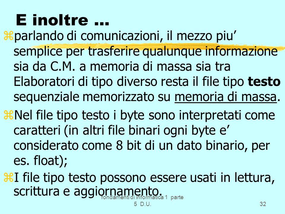 fondamenti di informatica 1 parte 5 D.U.32 E inoltre … zparlando di comunicazioni, il mezzo piu' semplice per trasferire qualunque informazione sia da C.M.
