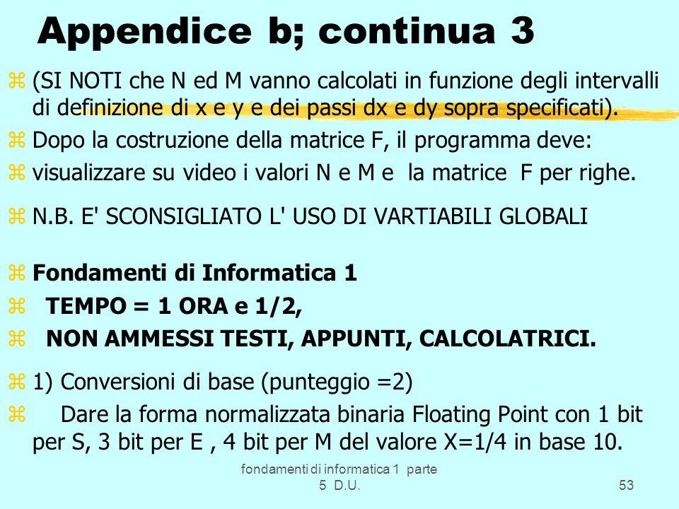 fondamenti di informatica 1 parte 5 D.U.53 Appendice b; continua 3 z(SI NOTI che N ed M vanno calcolati in funzione degli intervalli di definizione di x e y e dei passi dx e dy sopra specificati).