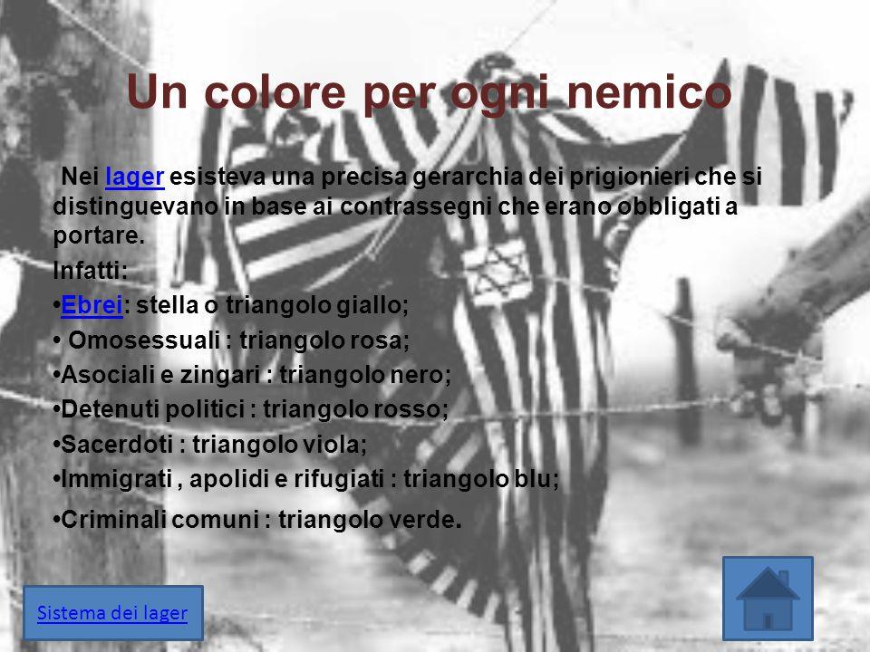 Un colore per ogni nemico Nei lager esisteva una precisa gerarchia dei prigionieri che si distinguevano in base ai contrassegni che erano obbligati a