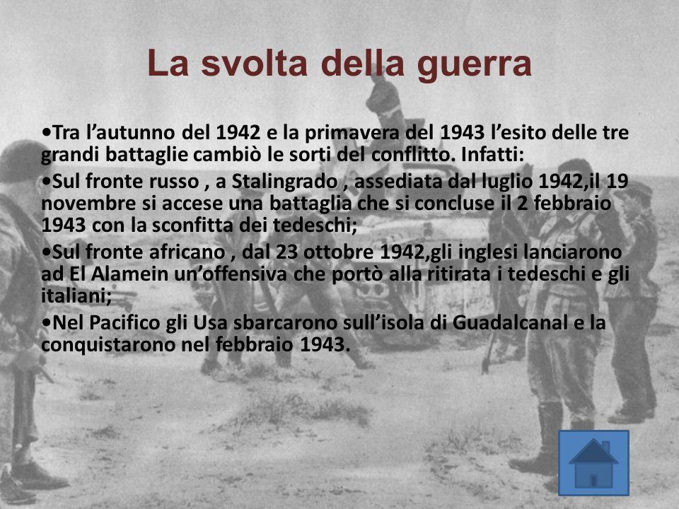La svolta della guerra Tra l'autunno del 1942 e la primavera del 1943 l'esito delle tre grandi battaglie cambiò le sorti del conflitto. Infatti: Sul f