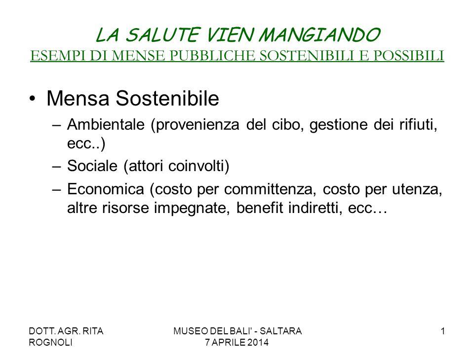 DOTT. AGR. RITA ROGNOLI MUSEO DEL BALI' - SALTARA 7 APRILE 2014 1 LA SALUTE VIEN MANGIANDO ESEMPI DI MENSE PUBBLICHE SOSTENIBILI E POSSIBILI Mensa Sos