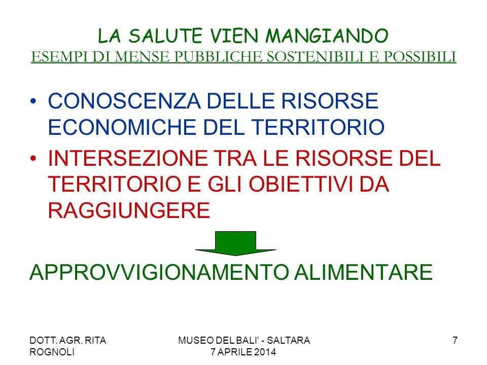 DOTT. AGR. RITA ROGNOLI MUSEO DEL BALI' - SALTARA 7 APRILE 2014 7 LA SALUTE VIEN MANGIANDO ESEMPI DI MENSE PUBBLICHE SOSTENIBILI E POSSIBILI CONOSCENZ