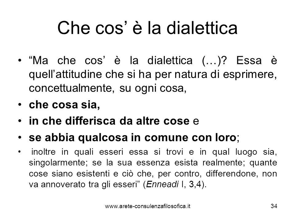 """Che cos' è la dialettica """"Ma che cos' è la dialettica (…)? Essa è quell'attitudine che si ha per natura di esprimere, concettualmente, su ogni cosa, c"""