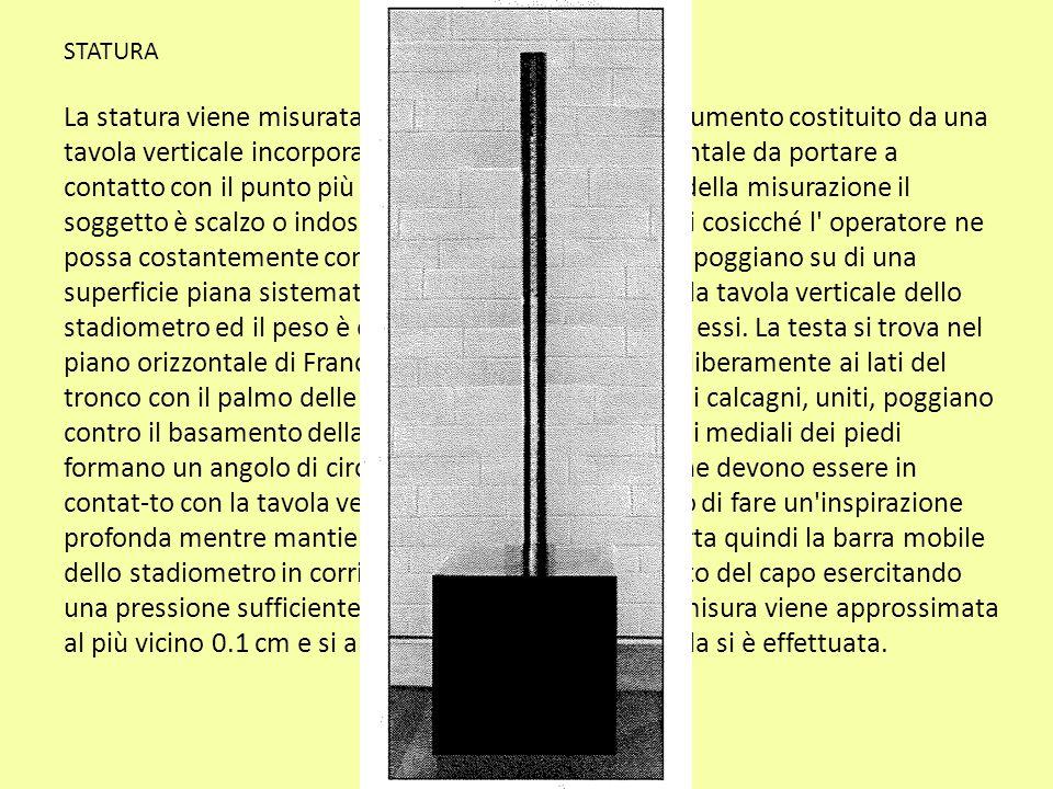 STATURA La statura viene misurata con lo stadiometro, uno strumento costituito da una tavola verticale incorporante un metro ed una orizzontale da por