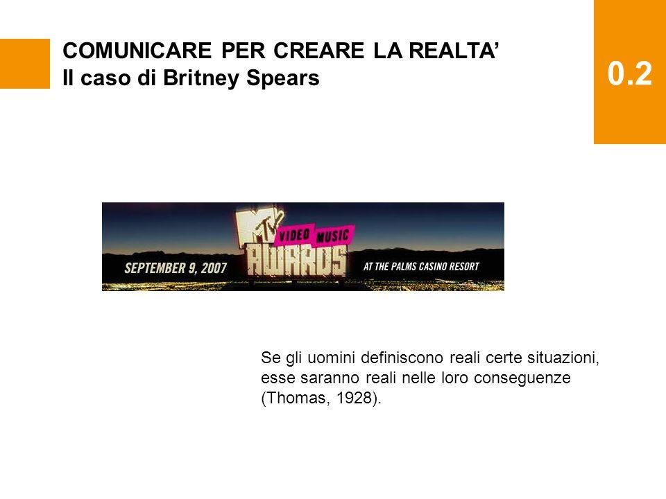 0.2 COMUNICARE PER CREARE LA REALTA' Il caso di Britney Spears Se gli uomini definiscono reali certe situazioni, esse saranno reali nelle loro conseguenze (Thomas, 1928).