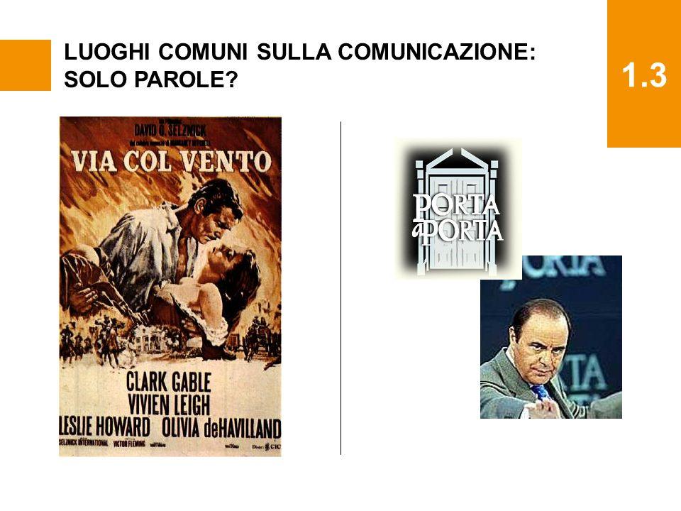 1.3 LUOGHI COMUNI SULLA COMUNICAZIONE: SOLO PAROLE