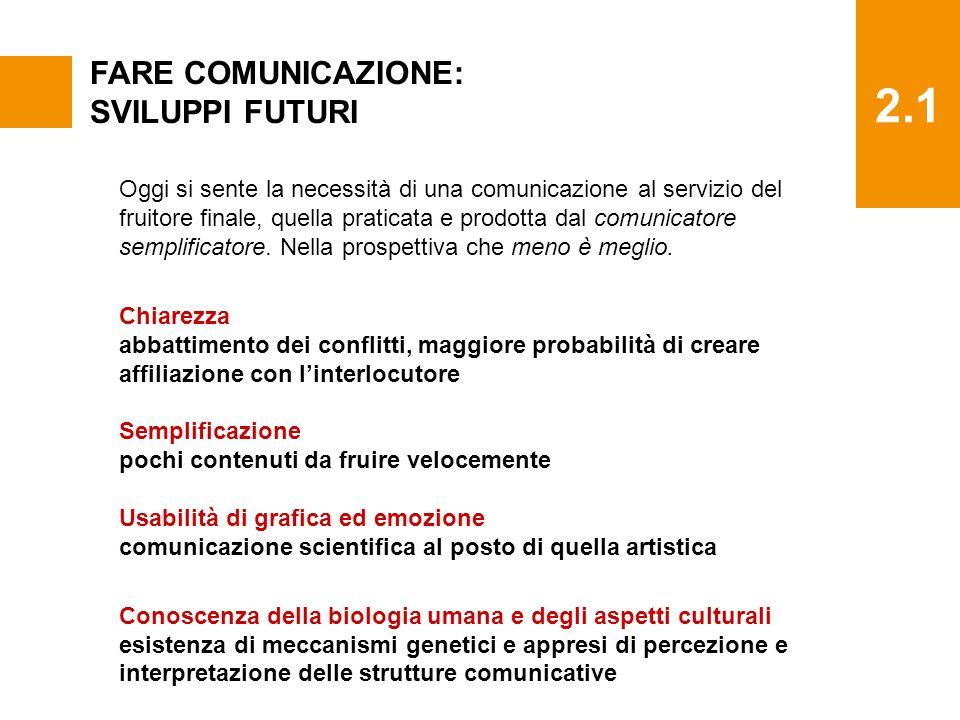 2.1 FARE COMUNICAZIONE: SVILUPPI FUTURI Oggi si sente la necessità di una comunicazione al servizio del fruitore finale, quella praticata e prodotta dal comunicatore semplificatore.