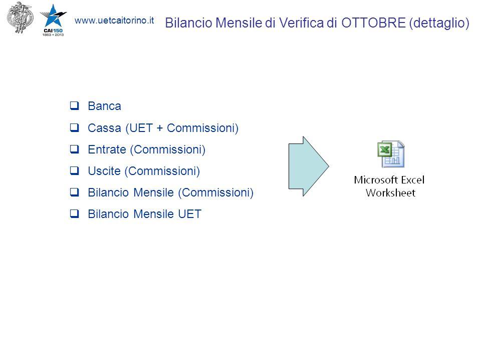 www.uetcaitorino.it Bilancio Mensile di Verifica di OTTOBRE (dettaglio)  Banca  Cassa (UET + Commissioni)  Entrate (Commissioni)  Uscite (Commissi