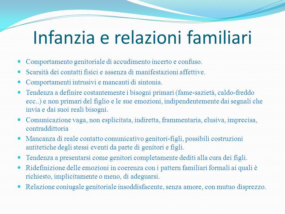 Infanzia e relazioni familiari Comportamento genitoriale di accudimento incerto e confuso. Scarsità dei contatti fisici e assenza di manifestazioni af