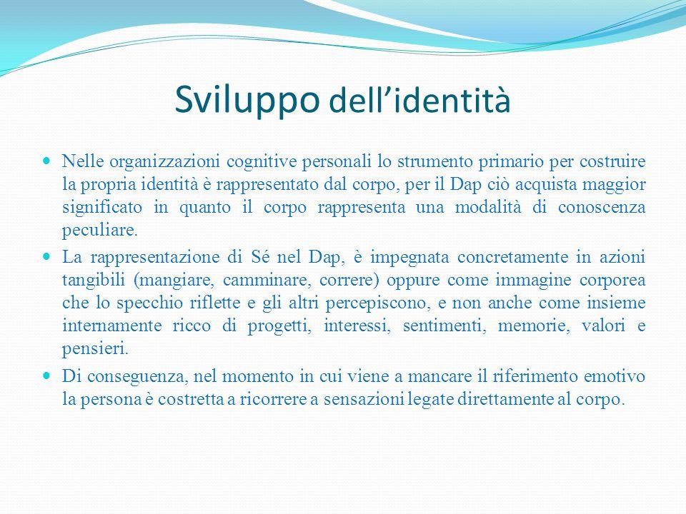 Sviluppo dell'identità Nelle organizzazioni cognitive personali lo strumento primario per costruire la propria identità è rappresentato dal corpo, per