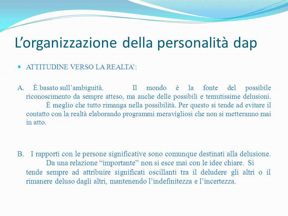 L'organizzazione della personalità dap ATTITUDINE VERSO LA REALTA': A. È basato sull'ambiguità. Il mondo è la fonte del possibile riconoscimento da se