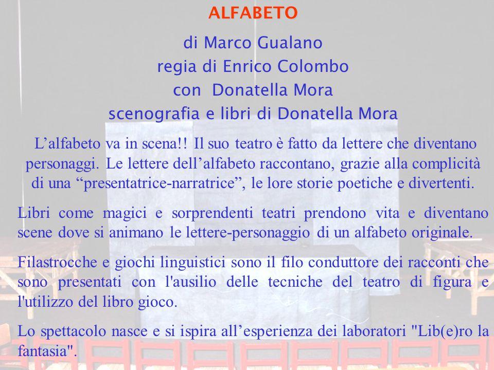 ALFABETO di Marco Gualano regia di Enrico Colombo con Donatella Mora scenografia e libri di Donatella Mora L'alfabeto va in scena!! Il suo teatro è fa
