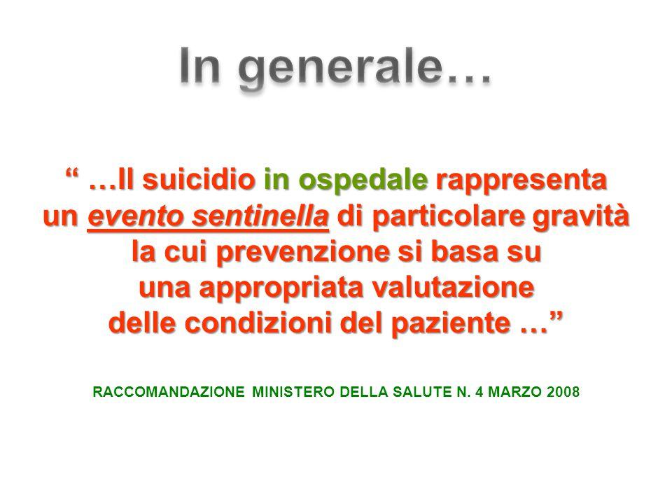 …Il suicidio in ospedale rappresenta un evento sentinella di particolare gravità la cui prevenzione si basa su una appropriata valutazione delle condizioni del paziente … RACCOMANDAZIONE MINISTERO DELLA SALUTE N.