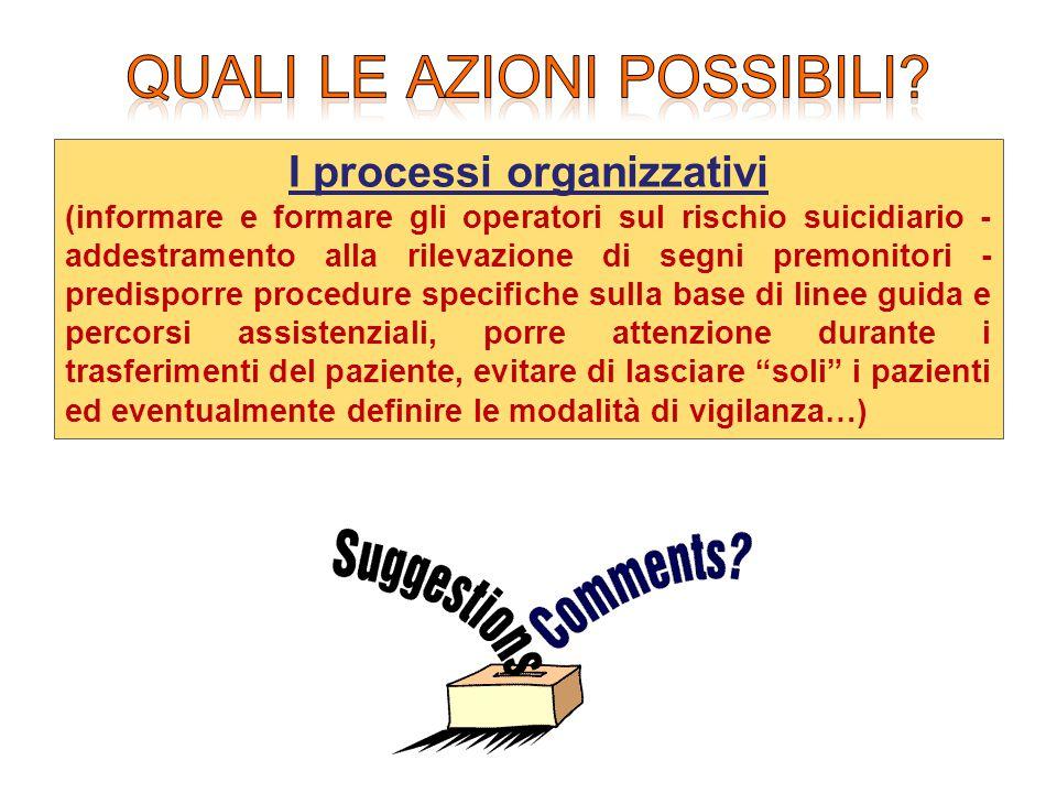 I processi organizzativi (informare e formare gli operatori sul rischio suicidiario - addestramento alla rilevazione di segni premonitori - predisporr