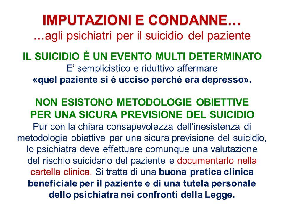 IMPUTAZIONI E CONDANNE… …agli psichiatri per il suicidio del paziente IL SUICIDIO È UN EVENTO MULTI DETERMINATO E' semplicistico e riduttivo affermare «quel paziente si è ucciso perché era depresso».