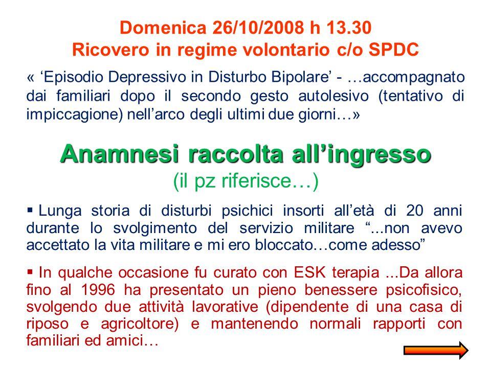 Domenica 26/10/2008 h 13.30 Ricovero in regime volontario c/o SPDC « 'Episodio Depressivo in Disturbo Bipolare' - …accompagnato dai familiari dopo il